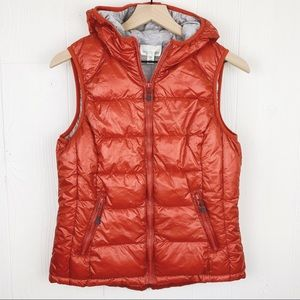 Tangerine Lined Puffer Vest Hooded With Pockets